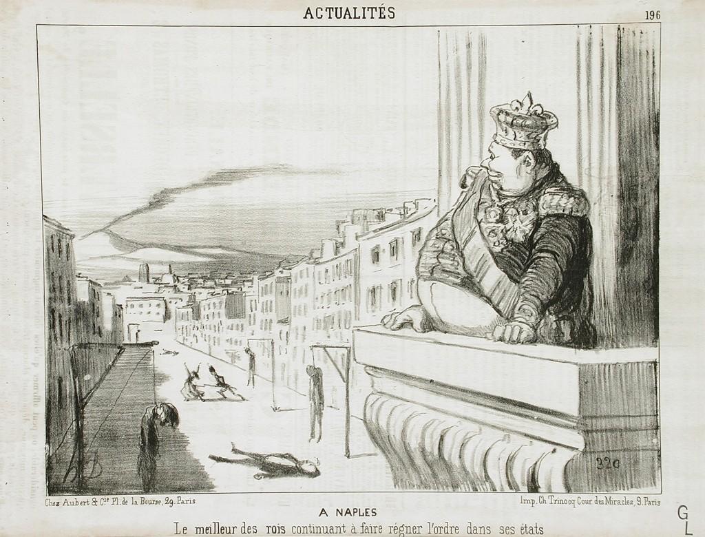 Honoré Daumier - Le meilleur des rois continuant a faire regner l'ordre dans ses etats (The best of kings continuing to keep order in his states), 1851